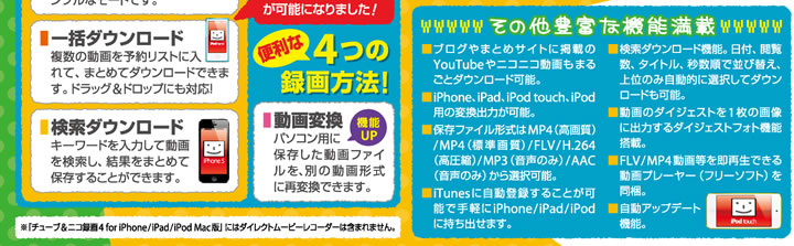 チューブ&ニコ録画4 for iPhone&iPad&iPod Mac版 3
